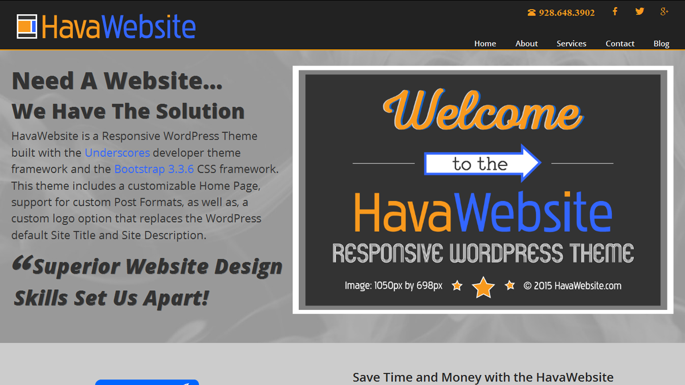 havawebsite theme home page screenshot